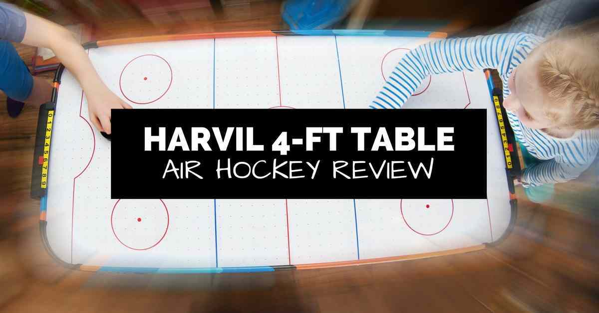 harvil 4 ft air hockey table review hero image with kids playing