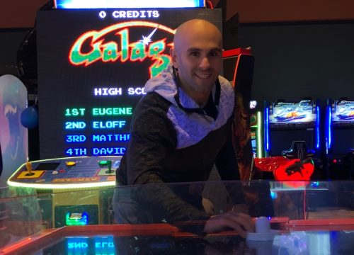 picture of joe playing air hockey