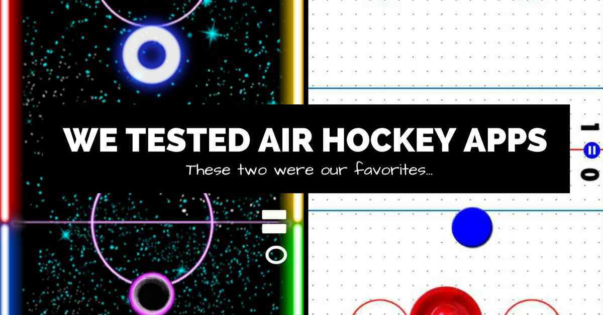 two air hockey apps side by side with text
