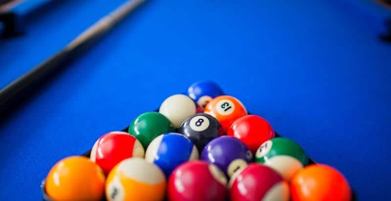 pool table with blue felt