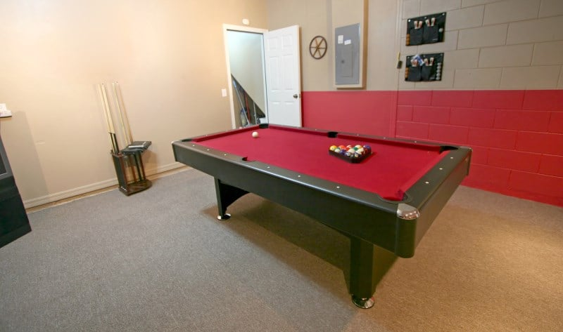 pool table with red felt