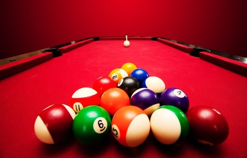 Red And Black Pool Table
