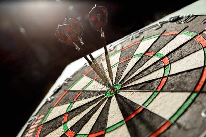 darts on a board close view