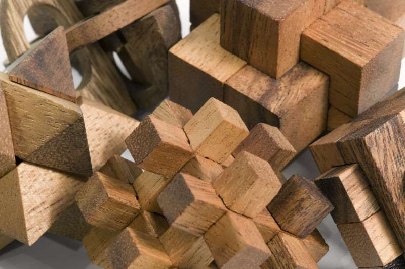 wooden mechanical puzzle group