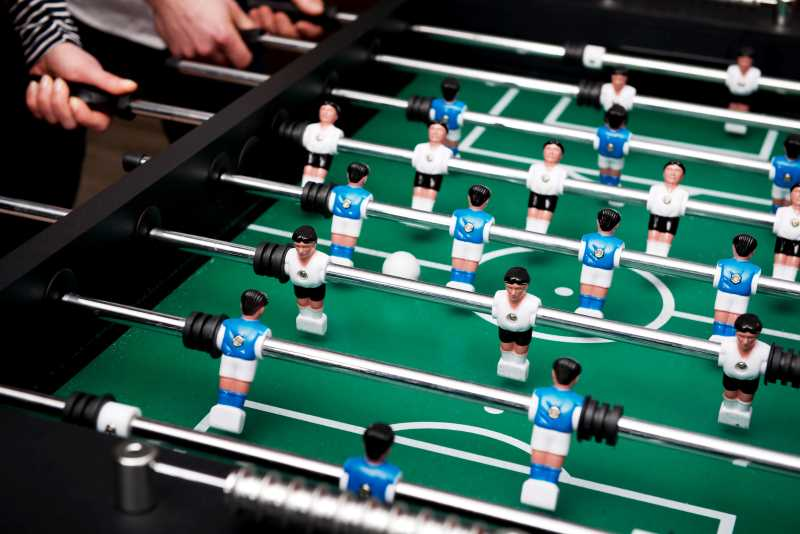 playing live on a foosball table