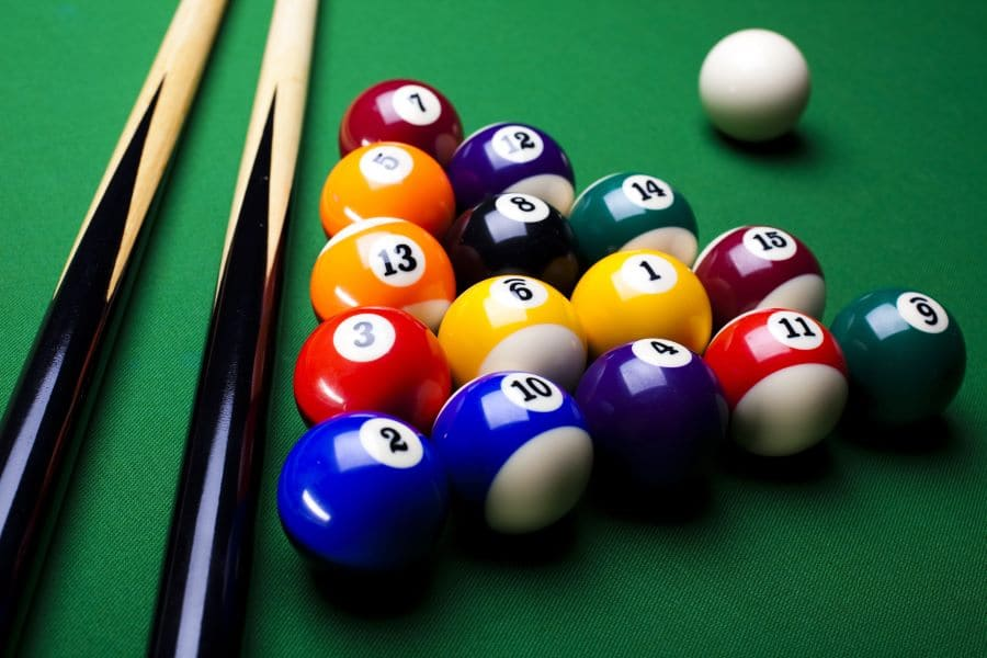 billiard balls of different colors