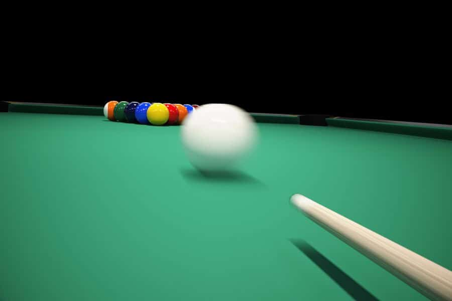 breaking on a billiards table