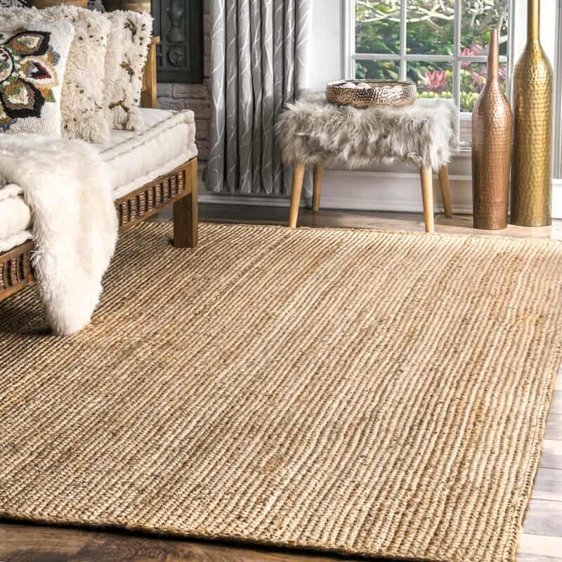 Striped Hand Woven Jute Area Rug