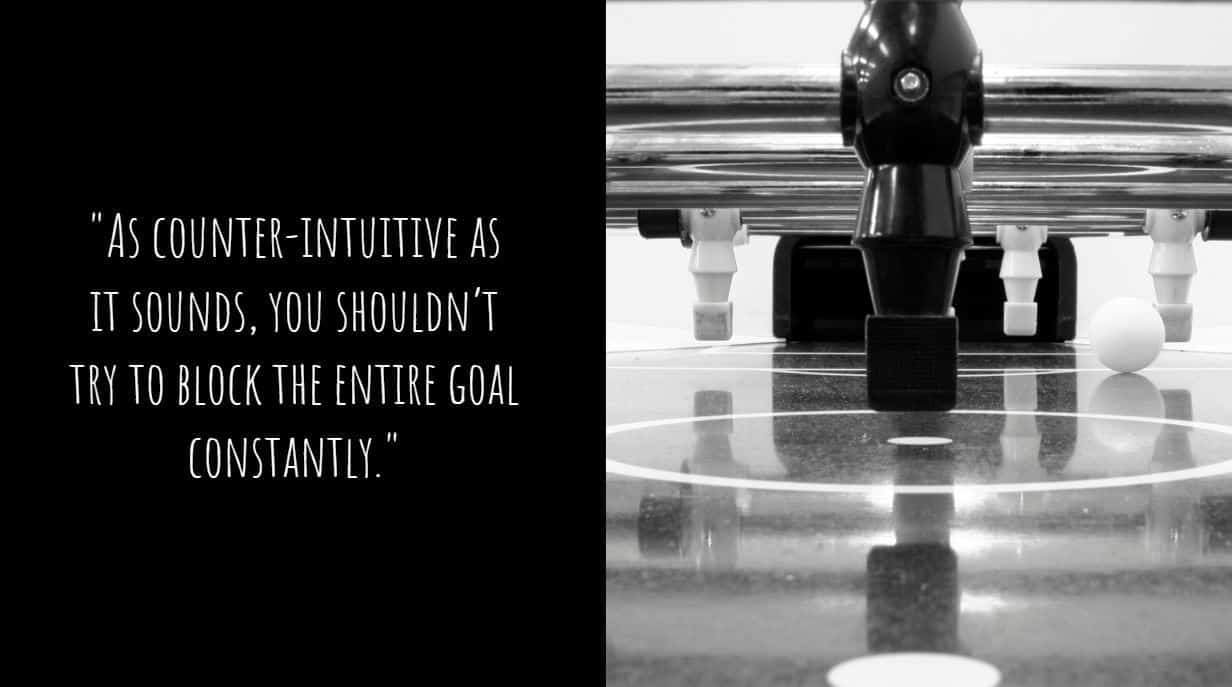 """""""As counter-intuitive as it sounds, you shouldn't try to block the entire goal constantly."""""""